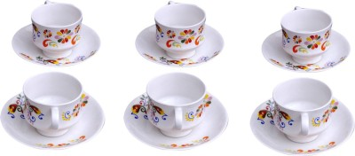 Pearl Floral Cup & Saucer Set-007 (Multicolor, Pack Of 12)