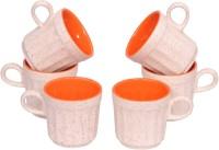 Elite Handicrafts White N Orange Tea Cups Set Of 6 In Ceramic Ehcc118 (White, Orange, Pack Of 6)