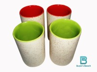 Buyer's Beach High Quality Colored Chai Glass (F) Set Of 4, 180 Ml (Green, Red)