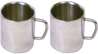 Dynamic Store Set Of 2 Double Wall Big Sober Mugs DS_146 (Steel, Pack Of 2)