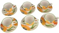 LUCINA LUCINA Tea Cup And Saucer Bone China -Set Of 12 23 (Multicolor, Pack Of 12)