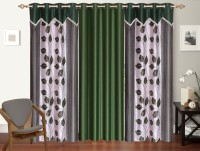 Shop 24 Decor Polyester Green Printed Curtain Window Curtain 152 Cm In Height, Pack Of 3