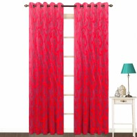 Fabutex Polyester Red Geometric Eyelet Door Curtain 214 Cm In Height, Pack Of 2