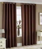 Jojo Designs Polyester Brown Solid Eyelet Door Curtain 215 Cm In Height, Pack Of 2