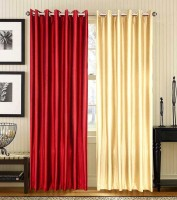 Home Fashion Gallery Polyester Maroon, Beige Plain Eyelet Long Door Curtain 274.32 Cm In Height, Pack Of 8