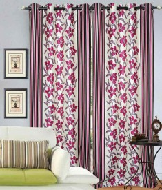 NAMOFAB Polyester multicolour Floral Curtain Window Curtain