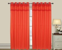 Elan Cotton Red Embroidered Eyelet Door Curtain 210 Cm In Height, Single Curtain