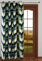 Homefab India Polyester Blue Geometric Eyelet Long Door Curtain 2.7 M In Height, Single Curtain