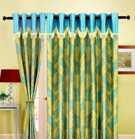 shop24decor Polyester Green Floral Eyelet Door Curtain