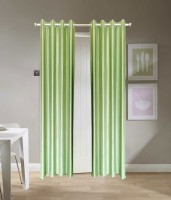 SLV Home Decor Polyester Light Green Plain Eyelet Window Curtain 152.4 Cm In Height, Pack Of 2