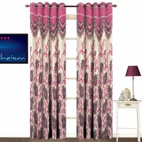 Fabutex Jacquard Pink Printed Eyelet Door Curtain 213 Cm In Height, Pack Of 2