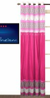 Fabutex Polyester Pink Plain Eyelet Door Curtain 210 Cm In Height, Single Curtain