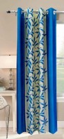 Galaxy Decorations Polyester Blue Geometric Eyelet Door Curtain 84 Cm In Height, Pack Of 2