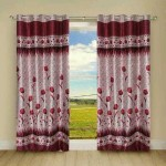 Handy Texty Handy Texty Polyester Red Floral Eyelet Long Door Curtain