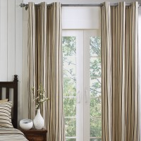 Maspar Polyester Brown Self Design Eyelet Door Curtain 117 Cm In Height, Single Curtain