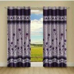 Handy Texty Handy Texty Polyester Purple Floral Eyelet Door Curtain