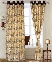 Jai Mahavir Textile Pvt Ltd Polyester Coffee Brown Self Design Eyelet Curtain