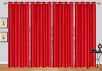 Fresh From Loom Polyester Red Plain Curtain Door Curtain 213 Cm In Height, Pack Of 4