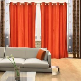 SLV Home Decor Polyester Orange Plain Eyelet Long Door Curtain