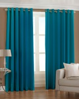 Pindia Polyester Door Curtain (Single Curtain, 84 Inch/214 Cm In Height, Light Blue)