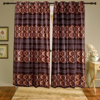 Shiva's Polyester Red Printed Ring Rod Door Curtain 215 Cm In Height, Pack Of 2