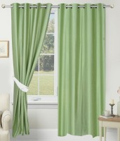 SLV Home Decor Polyester Light Green Plain Eyelet Door Curtain 213.36 Cm In Height, Pack Of 2