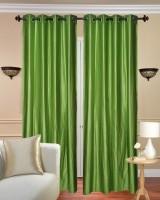 Handloom Hut Polyester Green Crush Plain Eyelet Door Curtain 213 Cm In Height, Pack Of 2