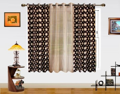 Dekor World Polka Dots And Sheer Combo Window Curtain