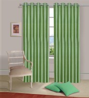 Home Elite Polyester Green Plain Eyelet Door Curtain 214 Cm In Height, Pack Of 2