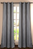 Deco Window Polyester Silver Printed Eyelet Door Curtain 228.6 Inch In Height, Single Curtain