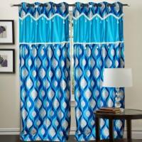 Decor Vatika Polyester Light Blue Abstract Eyelet Door Curtain 214 Cm In Height, Single Curtain