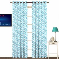 Fabutex Polyester Blue With Silver Floral Eyelet Door Curtain 213 Cm In Height, Pack Of 2