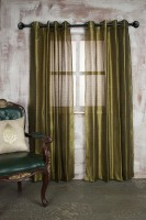 Marigold Polyester Dark Green Self Design Eyelet Door Curtain 228.6 Cm In Height, Single Curtain