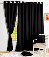 Story @ Home Silk Black Solid Eyelet Door Curtain 215 Cm In Height, Single Curtain