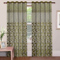 Mdf Curtains Jacquard Green Floral Eyelet Long Door Curtain 274 Cm In Height, Single Curtain