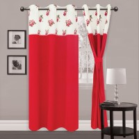 Elan Cotton Red Floral Eyelet Window & Door Curtain 210 Cm In Height, Single Curtain