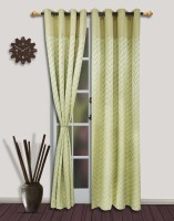 S9home By Seasons Polyester Green Striped Eyelet Door Curtain 260 Cm In Height, Pack Of 2