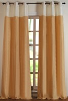 Deco Window Polyester Beige Abstract Eyelet Door Curtain 274.32 Inch In Height, Single Curtain