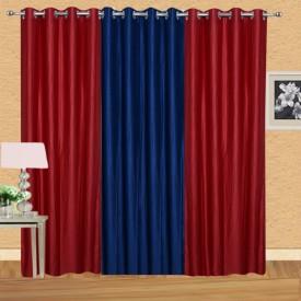 Excel Bazaar Polycotton Red-1neavyblue Plain Eyelet Door Curtain