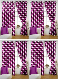 Story @ Home Polyester Purple Checkered Eyelet Window Curtain