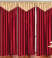Daddyhomes Polyester Red Plain Curtain Door Curtain 214 Cm In Height, Pack Of 3