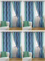Story @ Home Polyester Light Blue Geometric Eyelet Door Curtain 215 Cm In Height, Pack Of 8