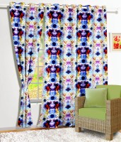 Story @ Home Polyester Multi Color Printed Eyelet Door Curtain 215 Cm In Height, Single Curtain
