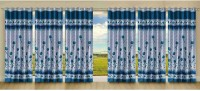 Stella Creations Polyester Light Blue Printed Eyelet Door Curtain 214 Cm In Height, Pack Of 6