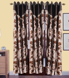 DECO INDIA Polyester Multicolor Floral, Abstract Curtain Door Curtain