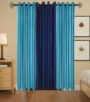 Homezaara Polyester Blue, Dark Blue Solid Eyelet Door Curtain 213.36 Cm In Height, Pack Of 3