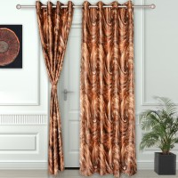 Story @ Home Polyester Brown Printed Eyelet Door Curtain 215 Cm In Height, Single Curtain