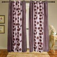 Shiva's Polyester Brown Printed Ring Rod Door Curtain 215 Cm In Height, Pack Of 2 - CRNEAGQWMJAJ9AED