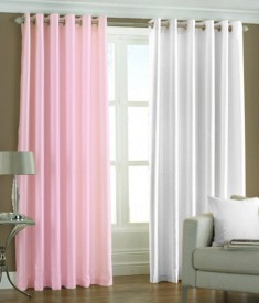 shop24decor Polyester Multicolor Plain Curtain Window Curtain
