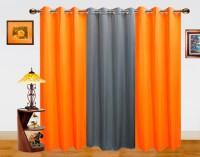 Dekor World Polyester Orange, Grey Solid Eyelet Long Door Curtain 275 Cm In Height, Pack Of 2